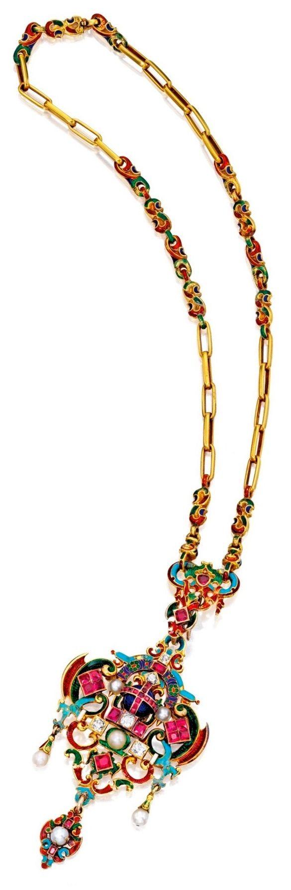 Renaissance-Revival Gold, Enamel and Gem-Set Necklace. The pendant and chain…