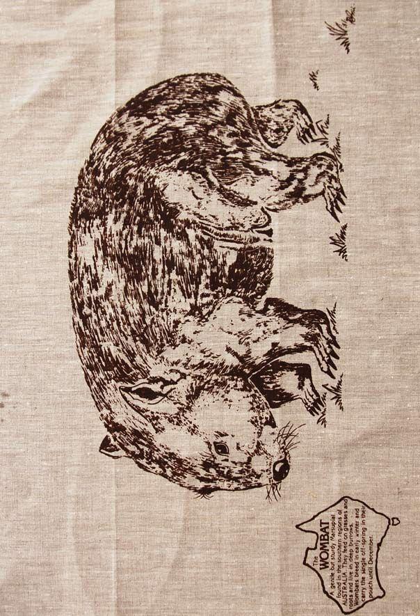 $12.50 Wombat Single Linen Tea Towel