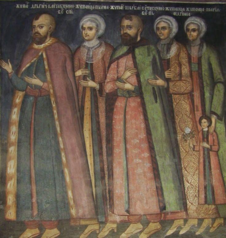 Cantacuzinii - (naosul bisericii mari Mănăstirea Cozia). Serban Cantacuzino (biv vel paharnic). 1704-1708 lucrari de refacere la biserica mare: repictata fresca din altar si naos, adaugat pridvorul in stil brancovenesc