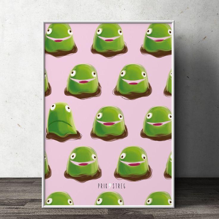 Denne plakat med 'kajkage' er håndtegnet i en rå, fed og minimalistisk streg. Lad den pynte i børneværelset eller køkkenet. Bliv lækkersulten med Kajkager!
