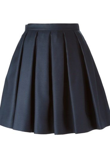 Navy blue wool-silk blend pleated A-line skirt from Burberry.
