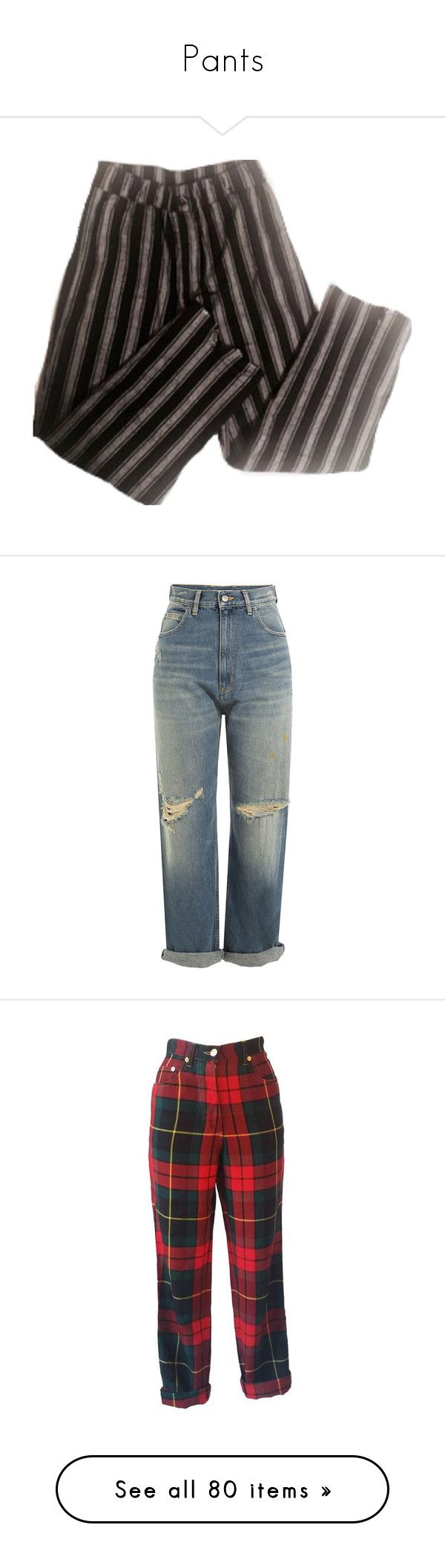 """Pants"" by sqwiish on Polyvore featuring bottoms, pants, jeans, blue, high waisted destroyed jeans, high waisted distressed jeans, cropped jeans, high waisted cropped jeans, high rise cropped jeans and moschino"
