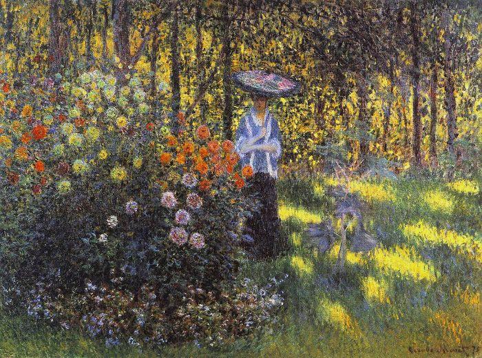 Monet - Femeie cu o umbrelă de soare în grădină la Argenteuil - 1875