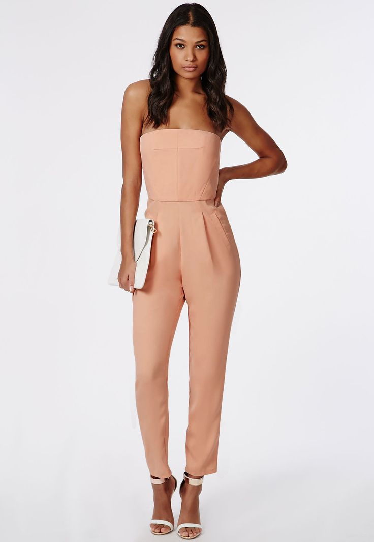 Missguided - Tailored Bandeau Jumpsuit Nude