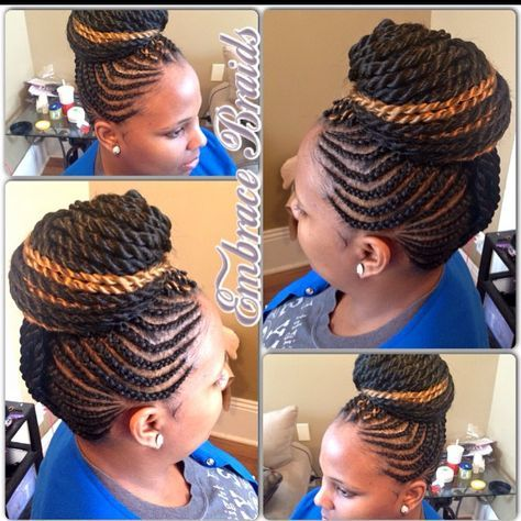 Add a pop of color Mohawk w/ twist great for any occasion  #braids…