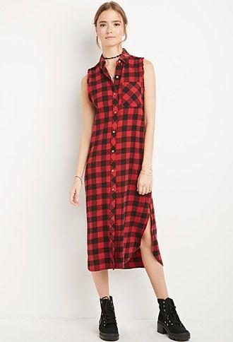 Raw-Cut Flannel Shirt Dress