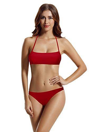 2a56f5e98ba zeraca Women s Hipster Bottom Bralette Bikini Bathing Suits (Dark ...