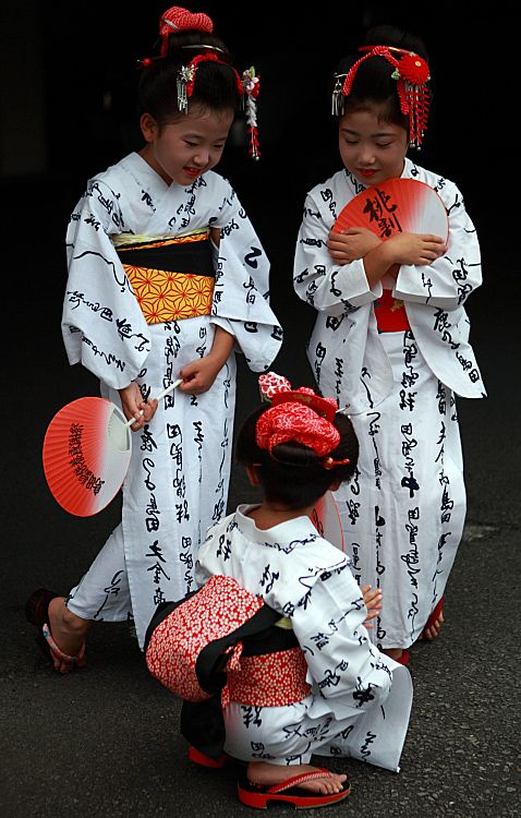 Japanese girls in yukata