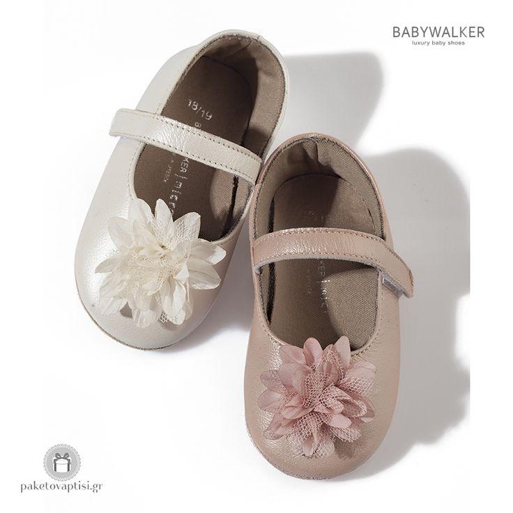 Παπουτσάκια Aγκαλιάς Διακοσμημένα με Υφασμάτινο Λουλούδι Babywalker MC1528