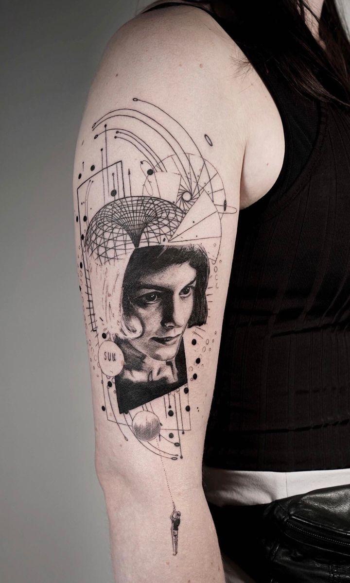 Amelie Tattoo Audrey Tautou In Black By Koit Tattoos Arm Tattoo Geometric Tattoo