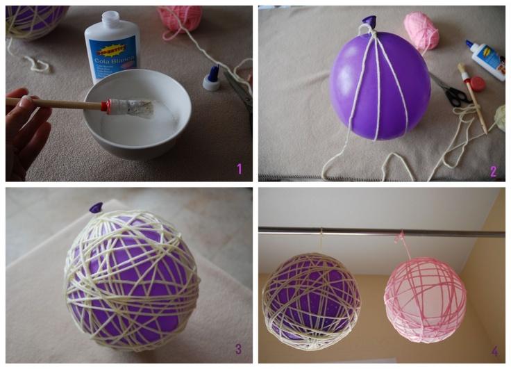 Diy decora con globos de lana manualidades pinterest - Manualidades con globos ...
