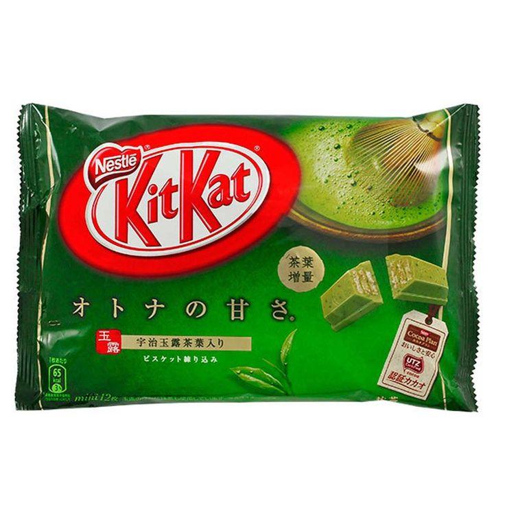 Japanese Matcha Green Tea Kit Kat. Bag of 12 mini individual Kit Kats. Delicious and cute, an authentic taste of Japan.