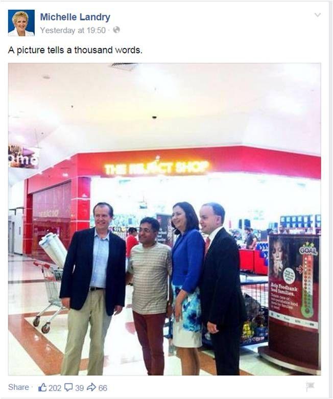 Landry pokes fun at @billshortenmp @AnnastaciaMP talking 2 retail abt jobs LNP Youth Unemployment 14% #qldvotes2015