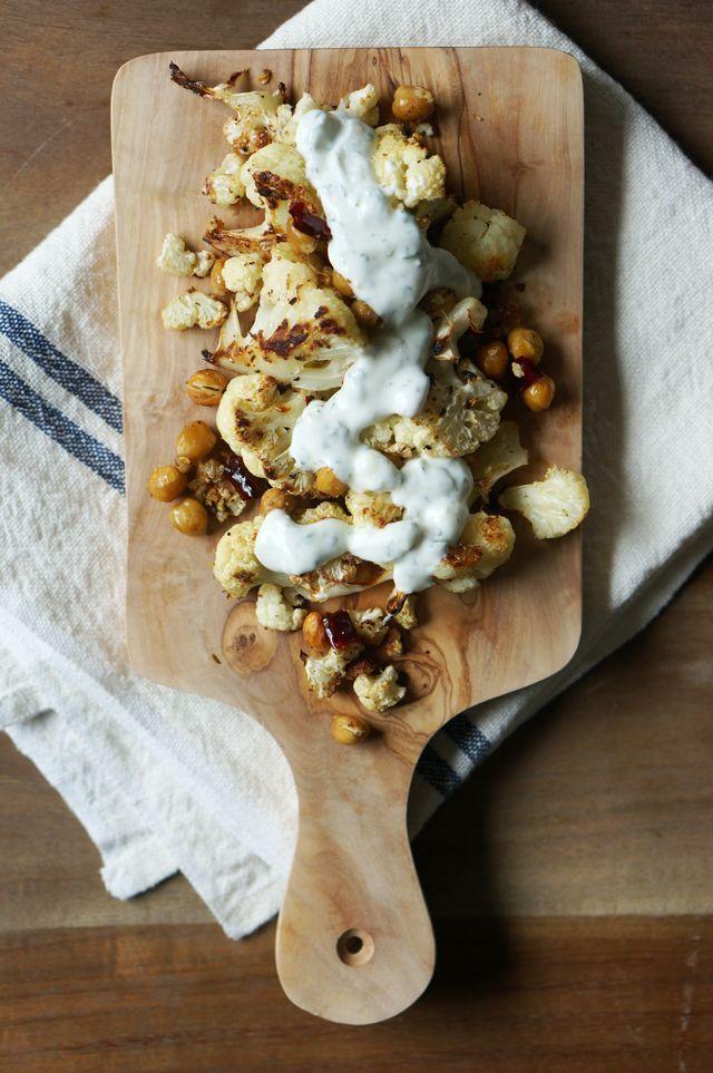 spicy roasted cauliflower and chickpeas with cilantro-garlic yogurt