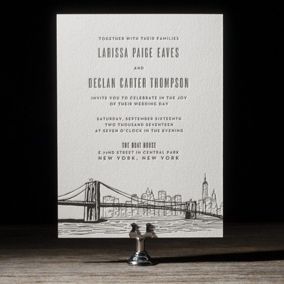 Bright Lights letterpress wedding invitation by Courtney Jentzen for Bella Figura. Customize yours with Paper Passionista.