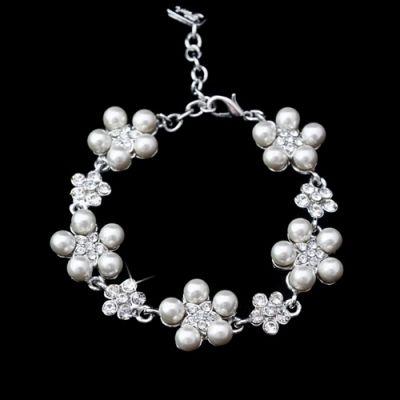 Amaya Bridal Bracelet : Pearl Flowers & Swarovski Crystal   www.glamadonnashop.com.au