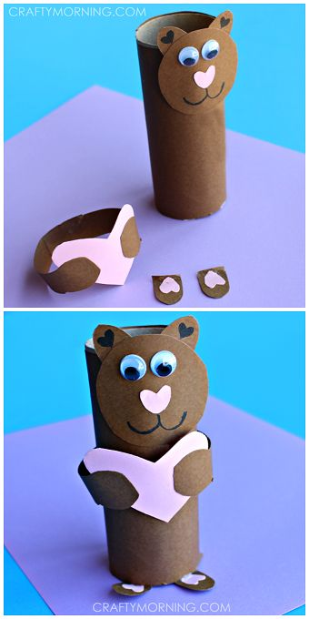"Toilet paper roll bear - Cute valentines day craft for kids! ""I love you beary much"" 