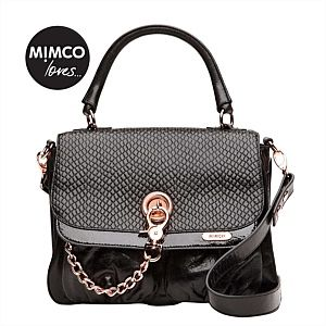 Mimco loves Black Leather Victorian Satchel with Rosé Gold Hardware