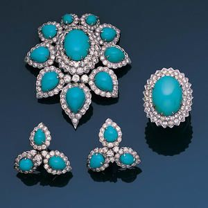 A turquoise and diamond suite,