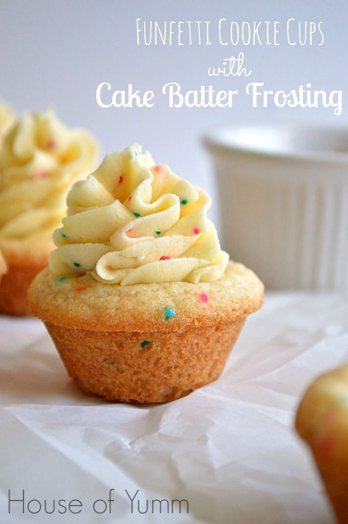 Funfetti sugar cookie cups filled with a cake batter flavored frosting