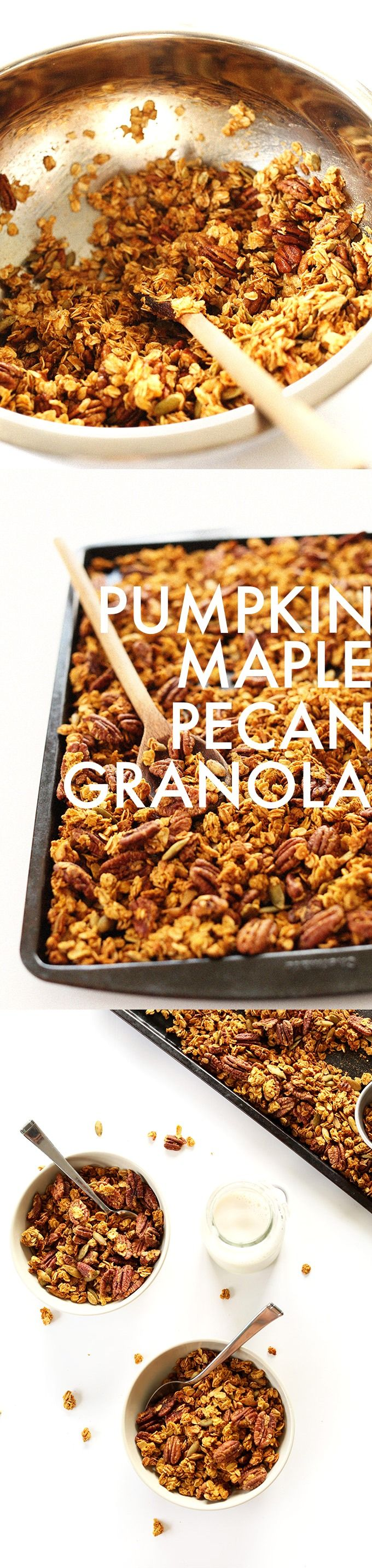 AMAZING 30-minute, 9 ingredient Vegan Pumpkin Maple Granola loaded with pecans, pumpkin seeds and sweetened with maple syrup!