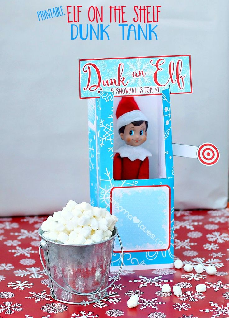 Printable Elf on the Shelf Dunk Tank | This Mama Loves #elfontheshelf #elfontheshelfideas