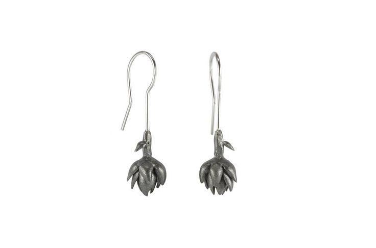 Artichoke earrings  Materials: sterling silver, oxidized silver