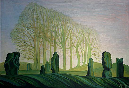 Anna Dillon - Avebury - 1996 Oil on board 45 x 58 cms