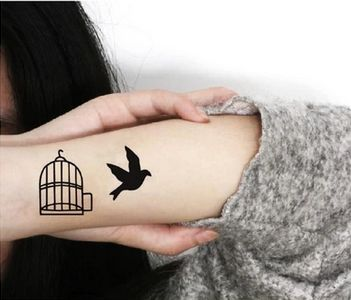 4Pcs Bird Out of Cage Tattoo Stickers $5.99