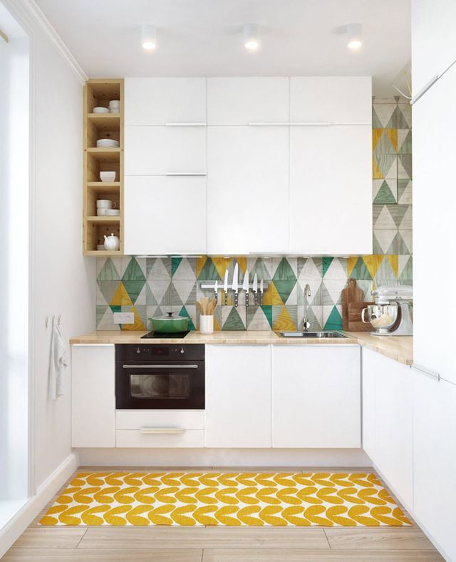 Int2 architecture via desire to inspire  Modern white kitchen, graphic patterned backsplash, graphic area carpet (Orla Kiely perhaps?)