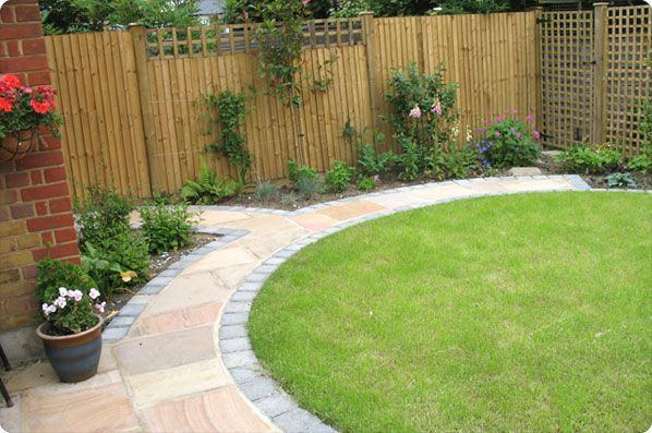 small walkways | sandstone path integrated with the patio, edged with Marshalls ...