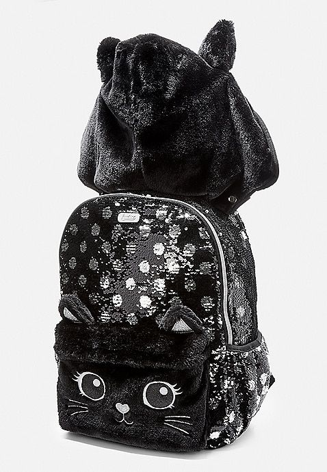 f92794f7b01a8b Black Cat Flip Sequin Hooded Backpack | Justice | Justice in 2019 ...