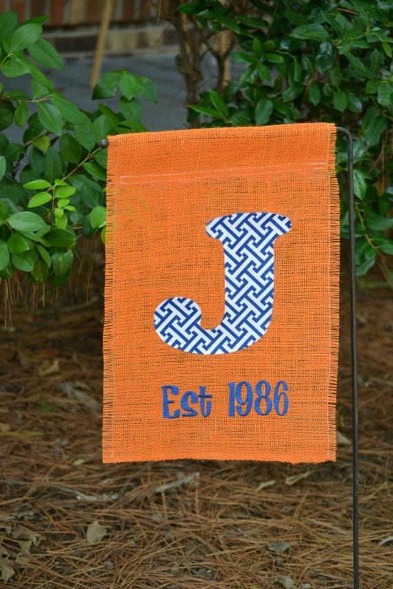 Auburn Monogrammed Burlap Garden Flag By DotDotDotEmbroidery, $18.95