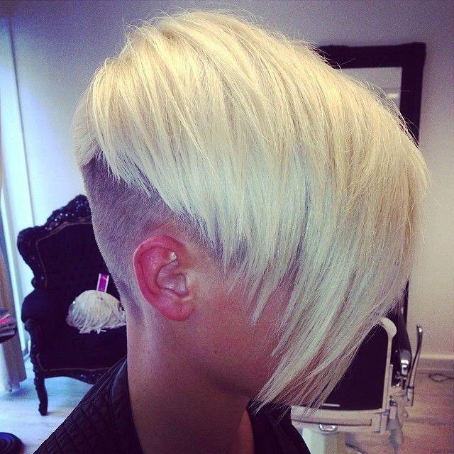 Dramatic angle hair cut