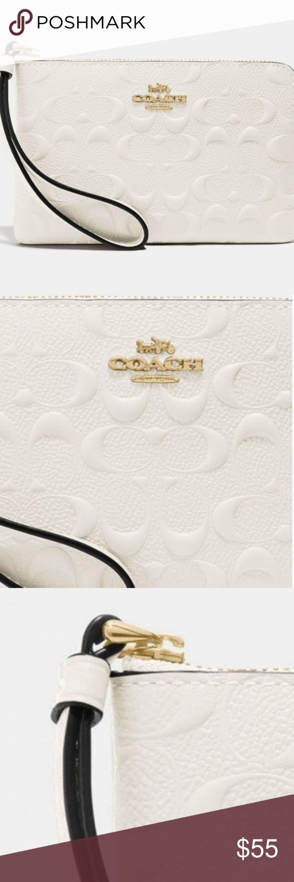 NWT COACH Signature Leather Corner Zip Wristlet ♡♡♡ NEW WITH TAGS ♡♡…