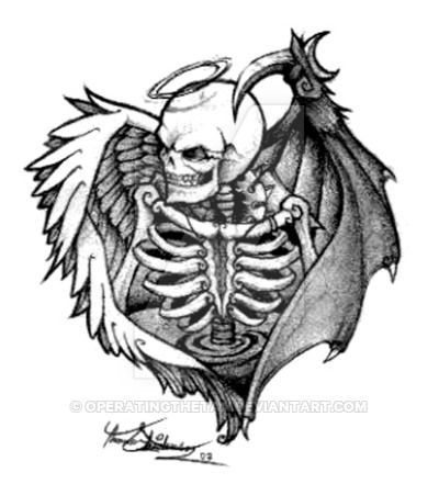 "A tattoo design I whipped up real quick like way back in Jan '07. My sister's friend Amanda asked me to draw her a ""death angel"" and this is what I came up with. She liked it and ended up getting i...                                                                                                                                                      More"