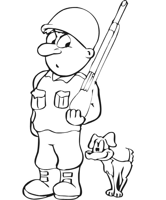 Dog Coloring Page Soldier amp Dog