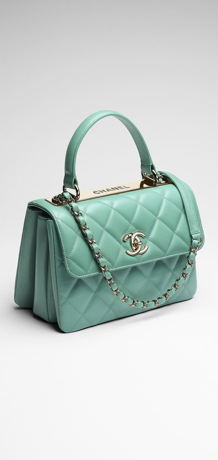 Chanel ~ Mint Small quilted lambskin flap bag