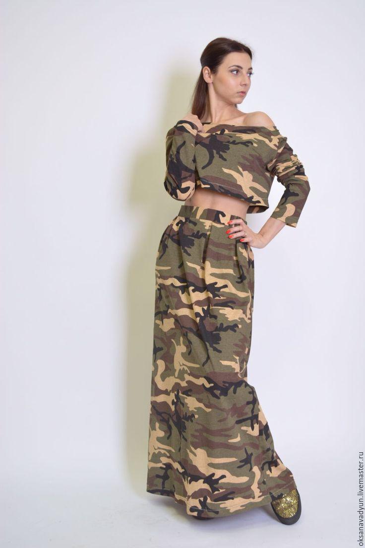 Military suit with crop top and long skirt / Купить Трикотажный костюм millitari - хаки, спортивный стиль, спортивная одежда, спортивный костюм, спорт