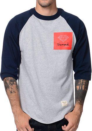 Diamond Supply Co OG Sign Raglan Navy & Grey Baseball Shirt at Zumiez : PDP