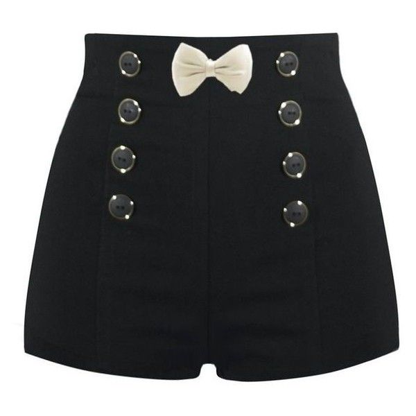 High Waisted Sailor Shorts ❤ liked on Polyvore featuring shorts, high waisted sailor shorts, highwaist shorts, high rise shorts, high-waisted shorts and high waisted shorts