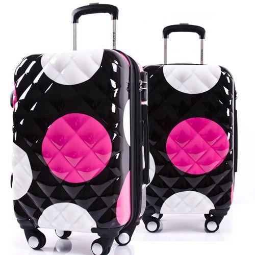 Девушки Dot Pattern Багаж и Женщины Дорожного Чемодана ABS + PC Универсальный Колеса Тележки Мешок Багажа 20 24 28 дюймов Роллинг Багажа
