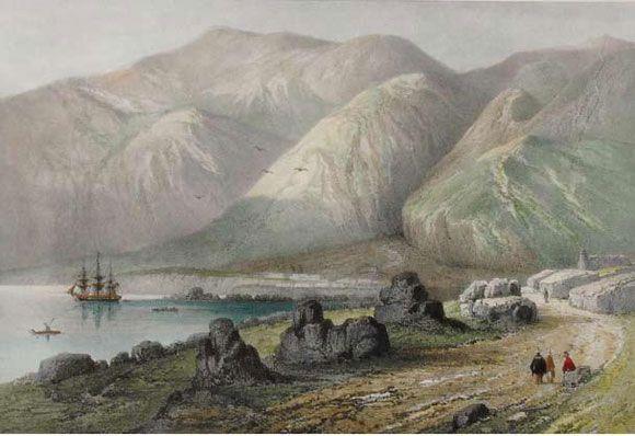 Figura 7. A la izquierda, balsa de cuero de lobo en el puerto de Cobija (grabado de Gabriel Lafond 1843).  Figure 7. On the left, sea lion skin raft in the port of Cobija (engraving by Gabriel Lafond, 1843).