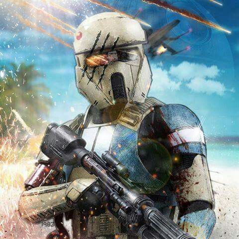 Scarif Stormtrooper concept art with battle-damaged effects.