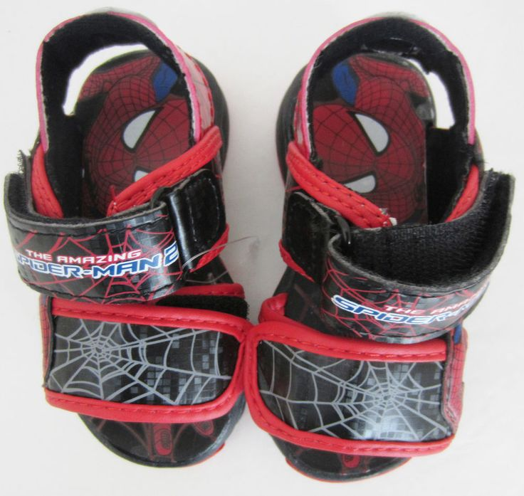 New Marvel Comics Spiderman Baby Boy Sandals Velcro Black with Red Size 5 M