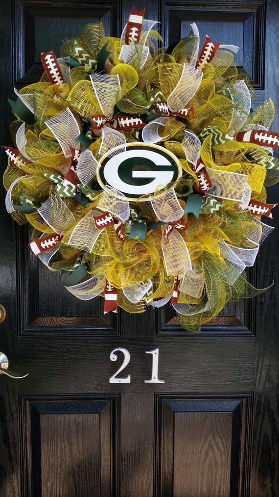 Large Burlap Green Bay Packers Football Wreath Green