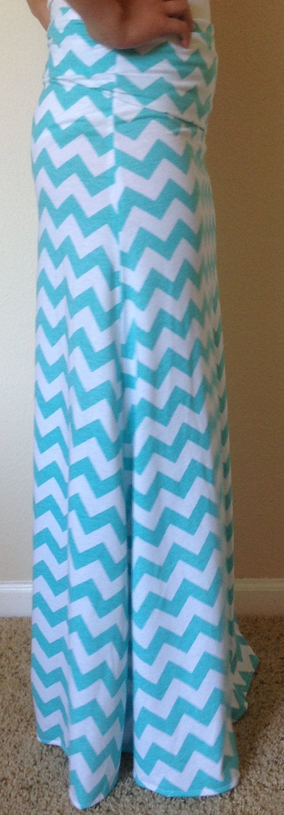 Tiffany blue and white Chevron maxi skirt summer by SeasonsApparel, $45.00