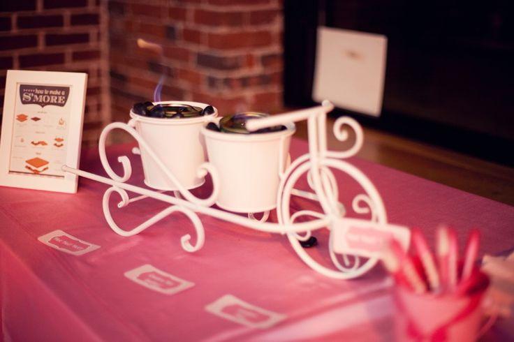 Hot pink and chocolate brown wedding reception smores bar