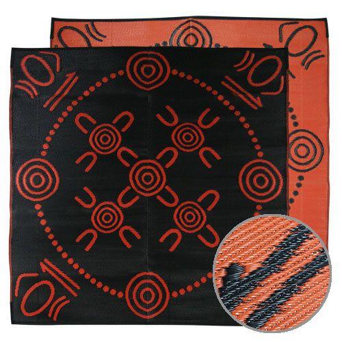 GATHERINGS Aboriginal Design Recycled Mat, Orange & Black