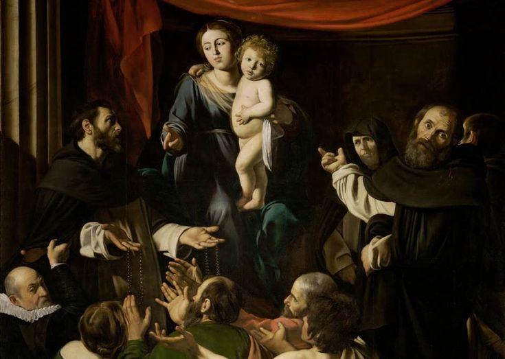 Caravaggio, Madonna del Rosario, c. 1605-1607, particolare, Vienna, Kunsthistorisches Museum